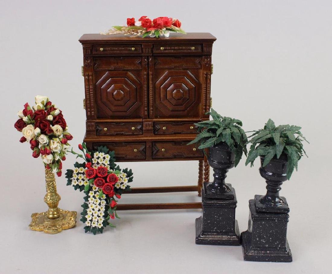 Two ferns on stands w/ arrangements; and Tudor Cabinet