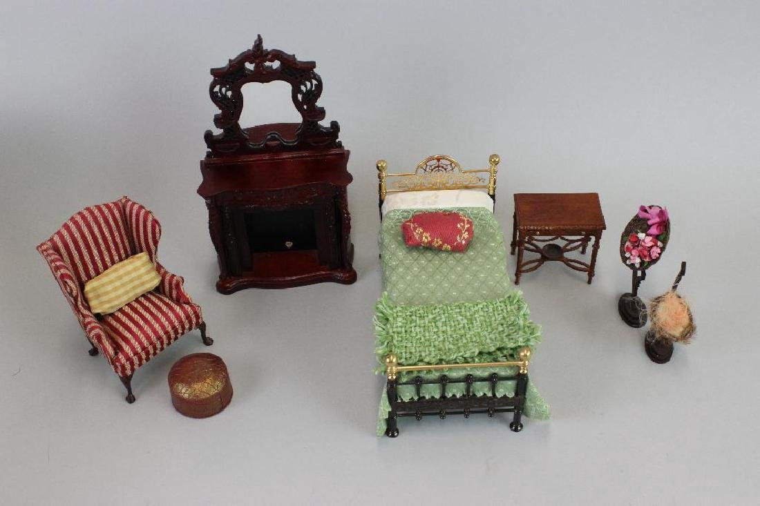 Bed, fireplace ladies hats and Wing chair stool Bespaq