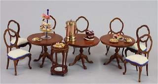 Tables chairs Bespaq; Tea cart urn;pedestal w pastries