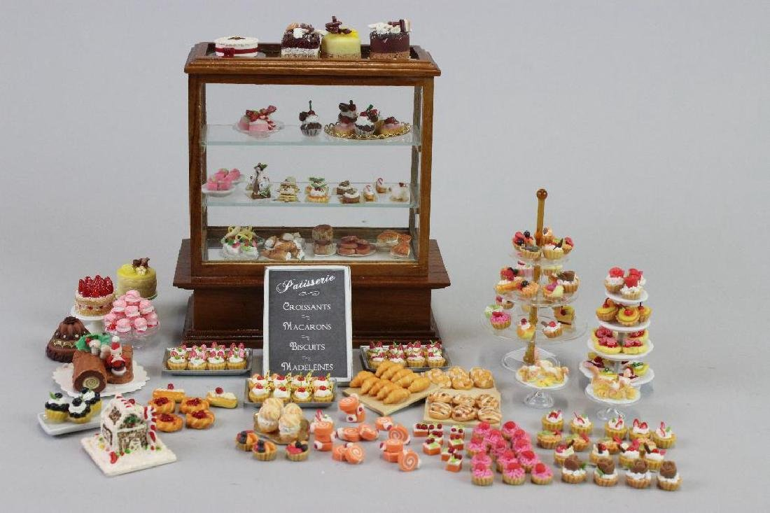 Display case, pastries, display towers, swan pastries