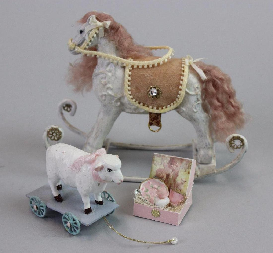 Rocking horse and Lamb pull toy and baby china set