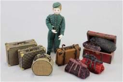 8 pieces luggage; Lady Doll; Hotel Porter & luggage