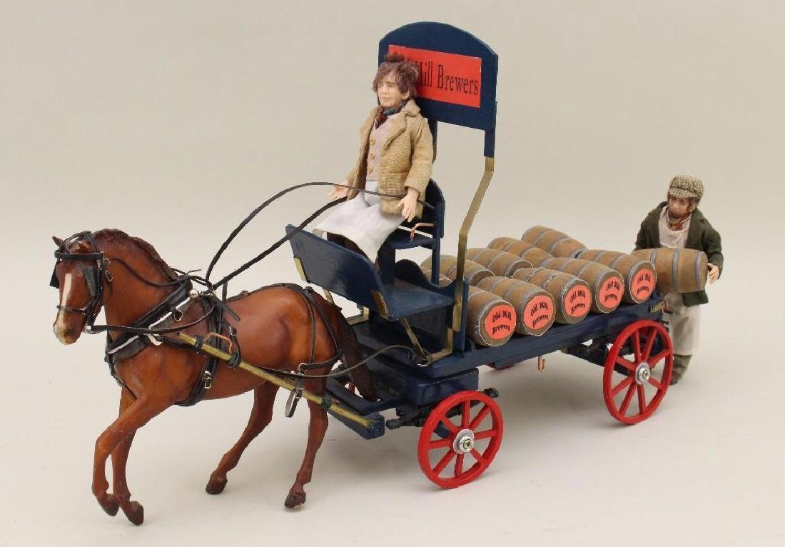 """""""The Old Mill Brewers"""" Horse Drawn Wagon and Dolls"""