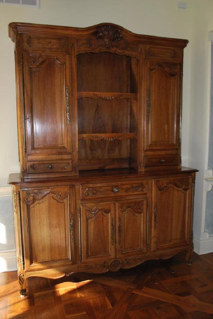 Carved French buffet and hutch,