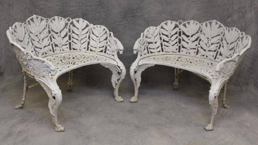(2) Cast Aluminum Griffin Decorated Garden Settees