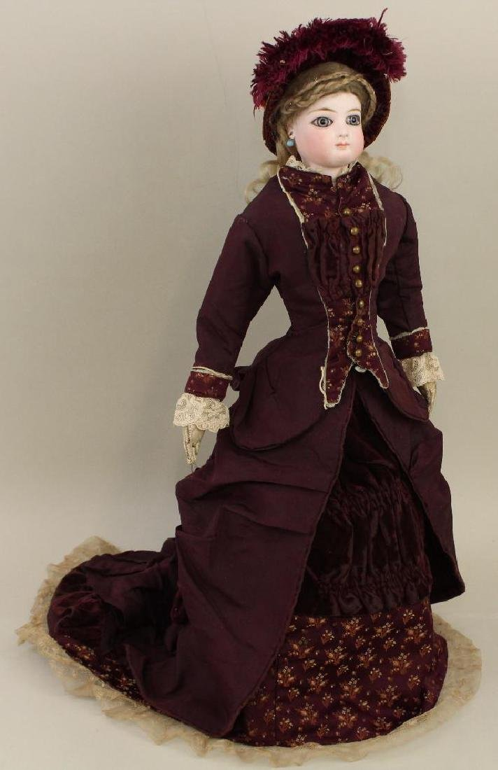 """17 1/2""""  """"4"""" ANTIQUE BISQUE HEAD FRENCH FASHION DOLL."""