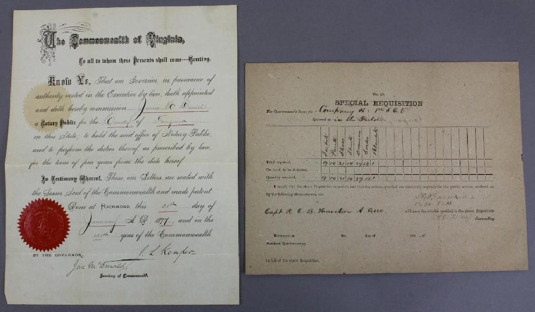 Autographs of Confederate Civil War General Kemper and