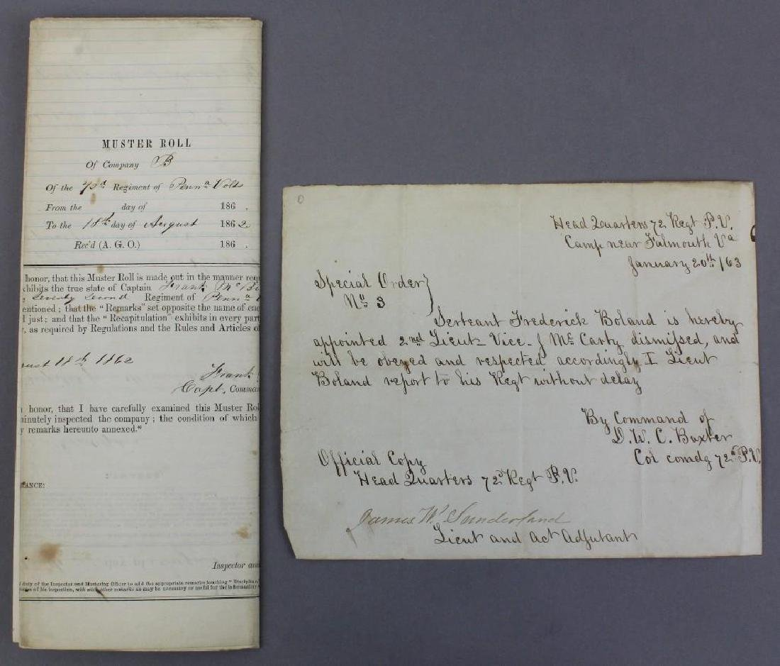 Civil War Documents Related to 72nd Pennsylvania