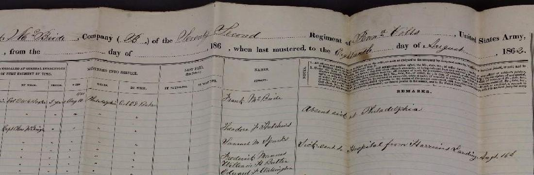 Civil War Documents Related to 72nd Pennsylvania - 3