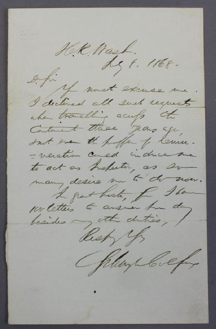 Autograph of Schuyler Colfax - 2