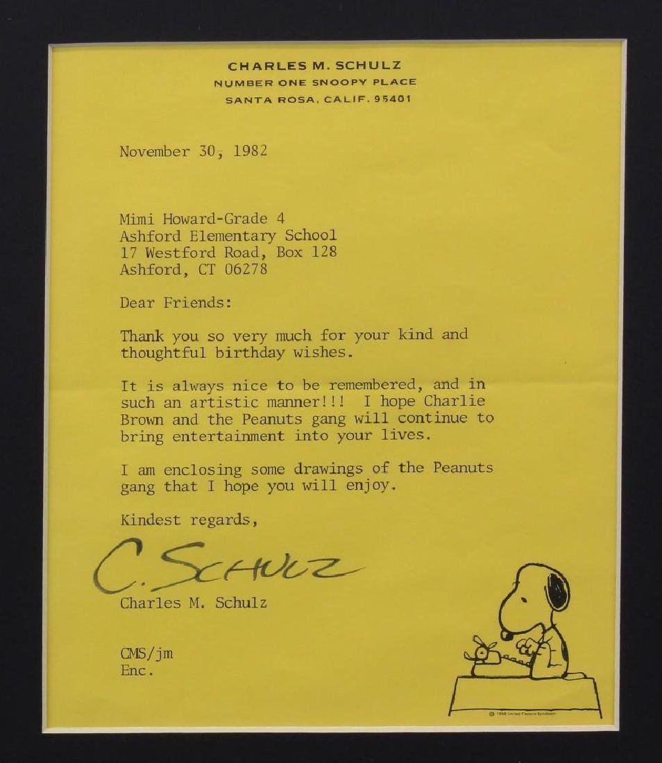 Charles Schulz Signature, Letter to Grade 4 at Ashford - 3