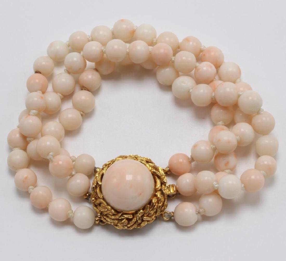Angel Skin Coral Bead Bracelet with Cabochon in 14K