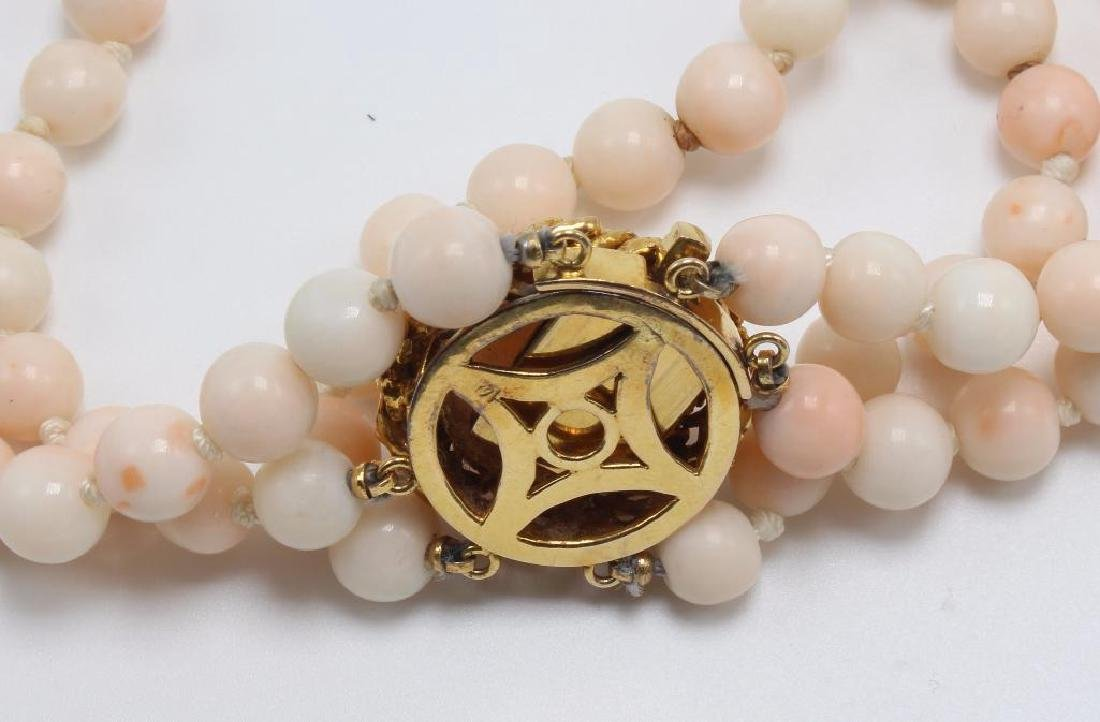 Angel Skin Coral Bead Bracelet with Cabochon in 14K - 3