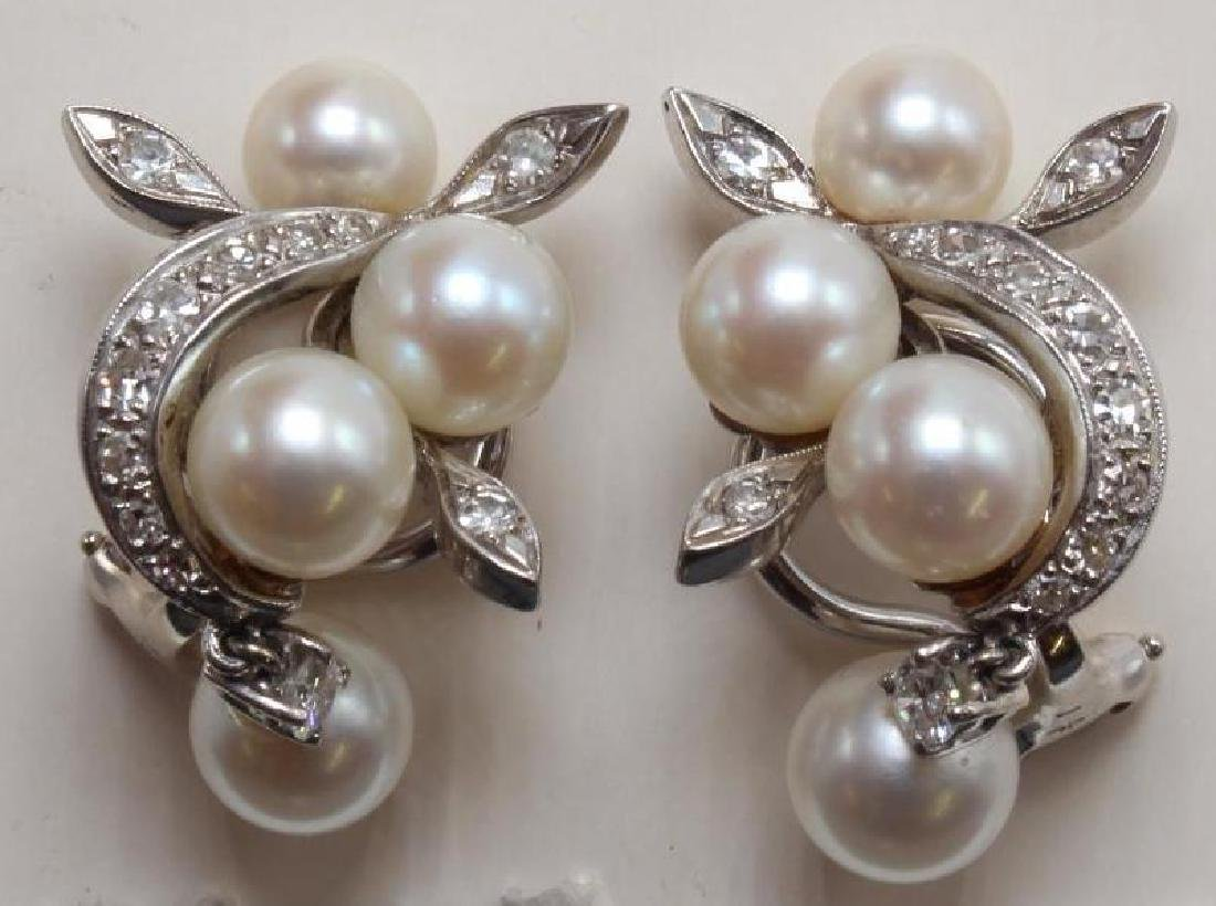 14K White Gold Earrings with Pearl and Diamond