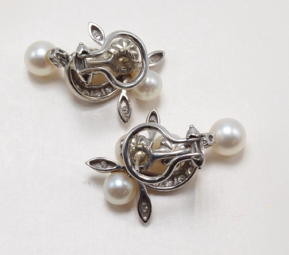 14K White Gold Earrings with Pearl and Diamond - 2