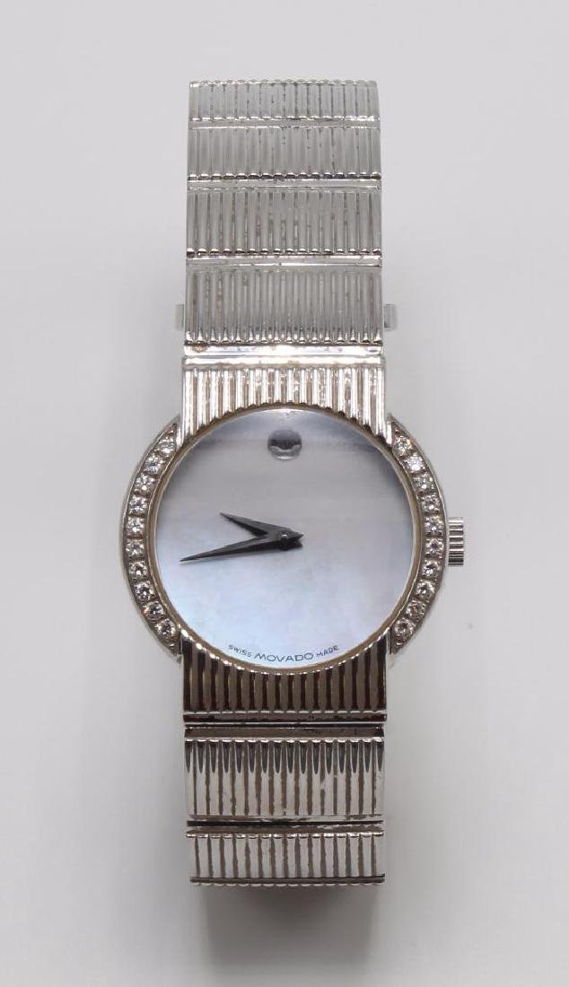 Ladies Movado Wrist Watch with Diamonds. Stainless