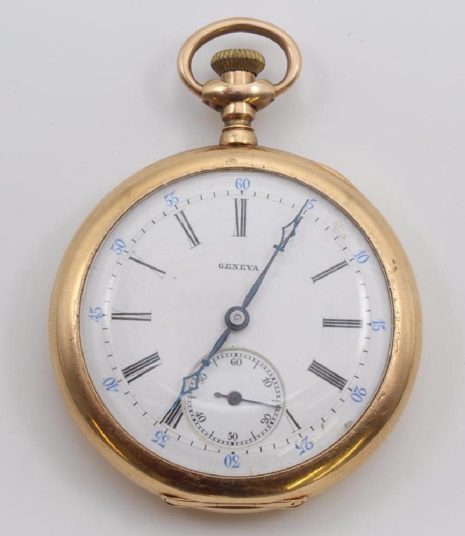 Geneva Pocket Watch. 14K Yellow Gold