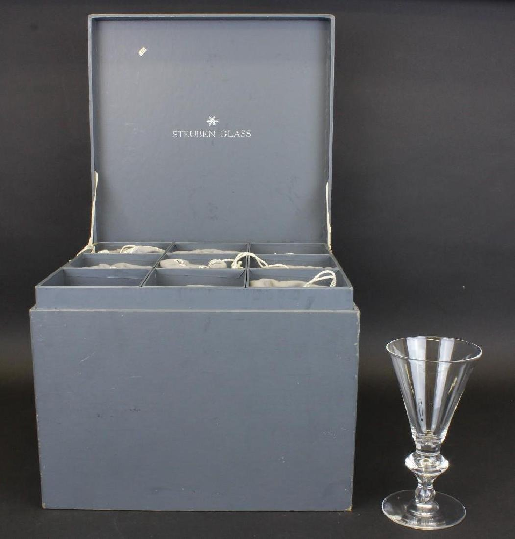 "(9) Steuben ""Double Teardrop"" Water Goblet Set - 2"