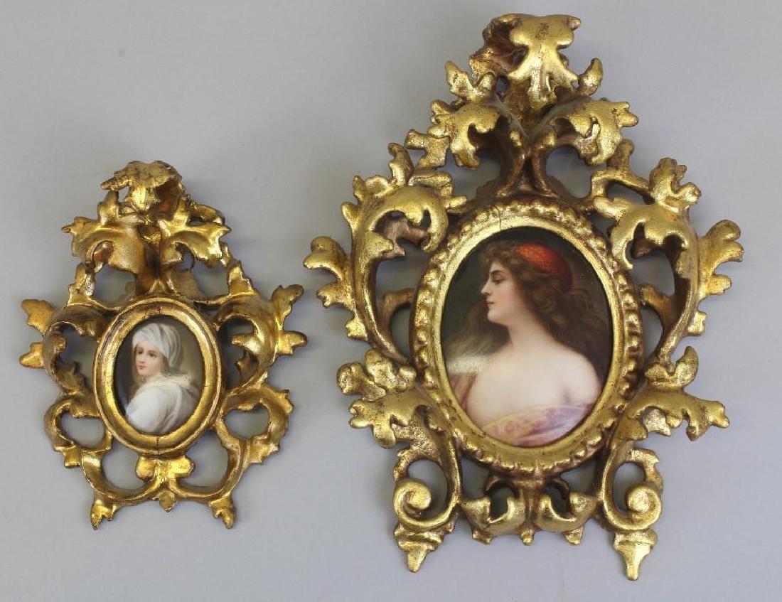 Pair of Female Portrait Porcelain Paintings