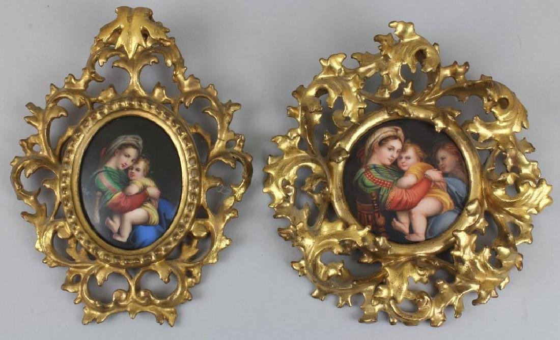 Pair of Mother and Child Porcelain Paintings