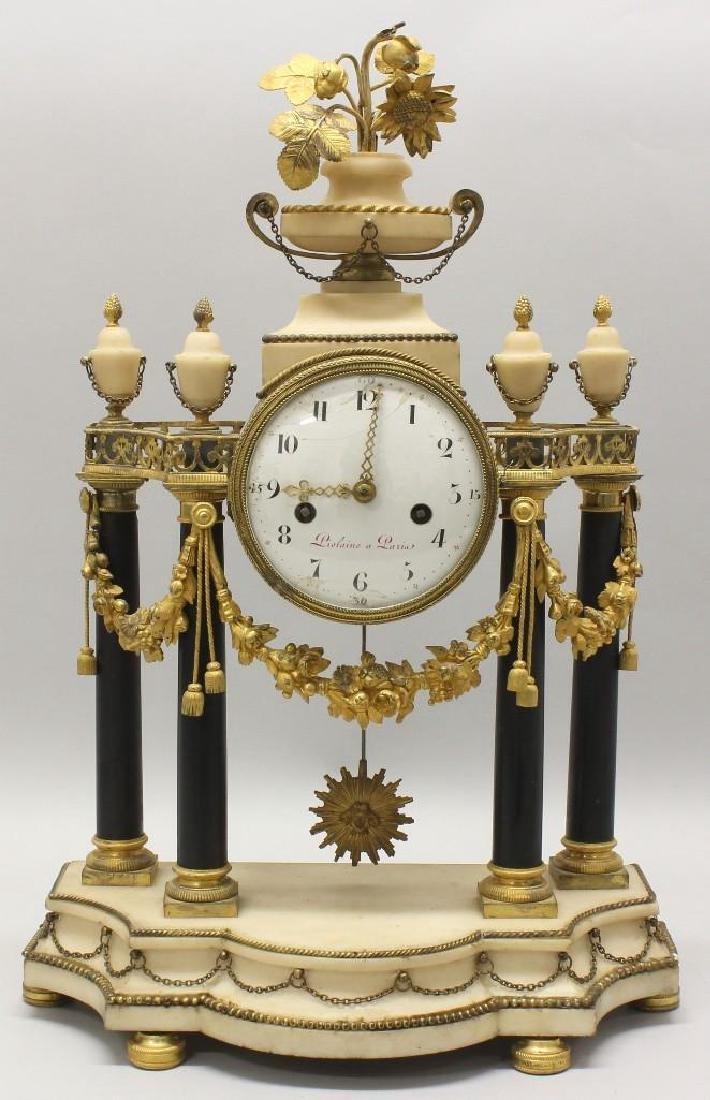 Piolaine White Marble and Ormolu Mantel Clock.