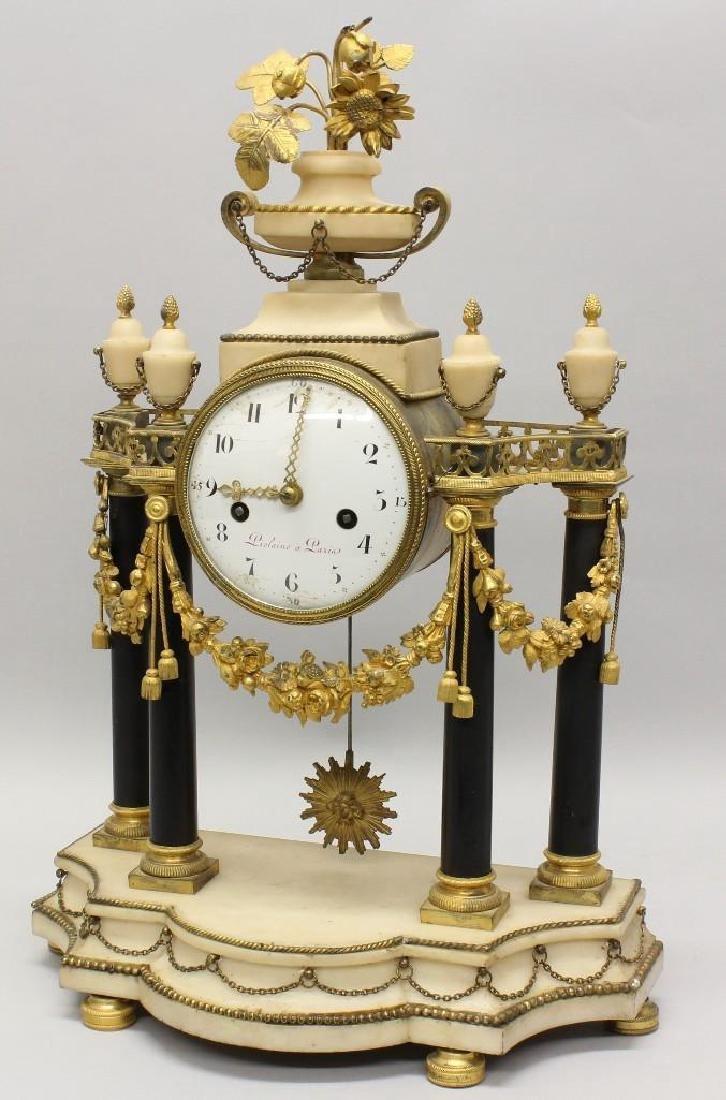 Piolaine White Marble and Ormolu Mantel Clock. - 2