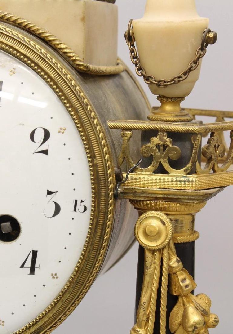 Piolaine White Marble and Ormolu Mantel Clock. - 4