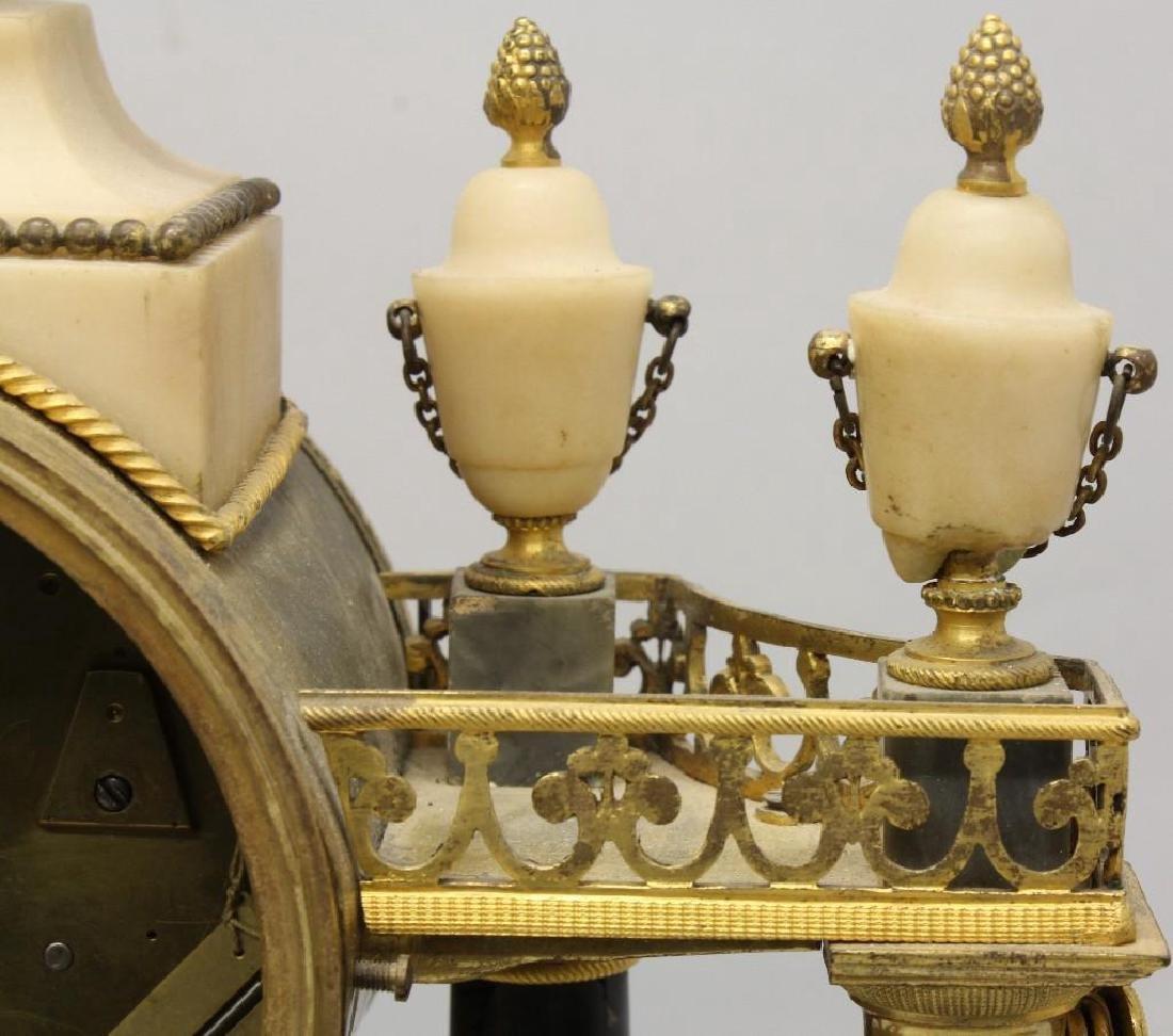 Piolaine White Marble and Ormolu Mantel Clock. - 7