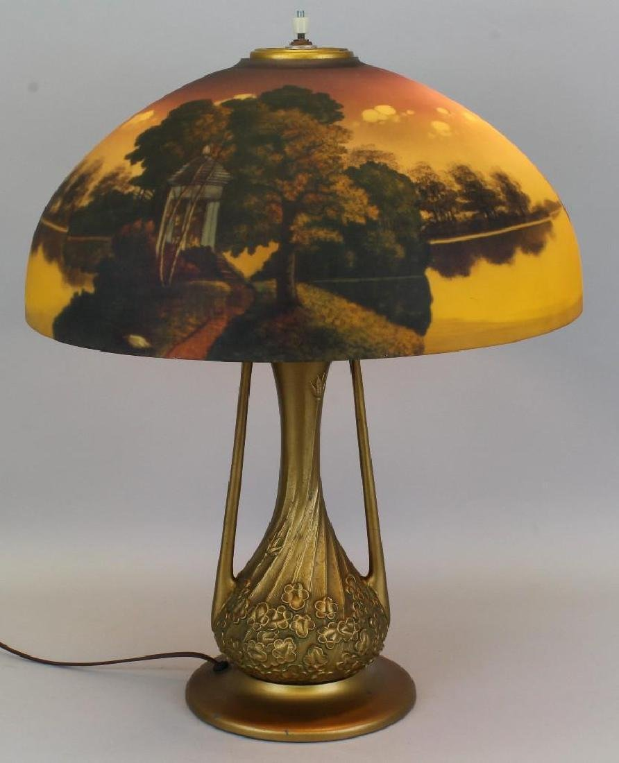 Lamp with Reverse Painted Glass Shade