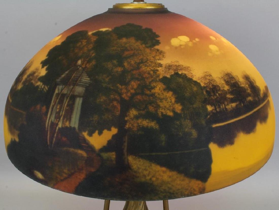 Lamp with Reverse Painted Glass Shade - 2