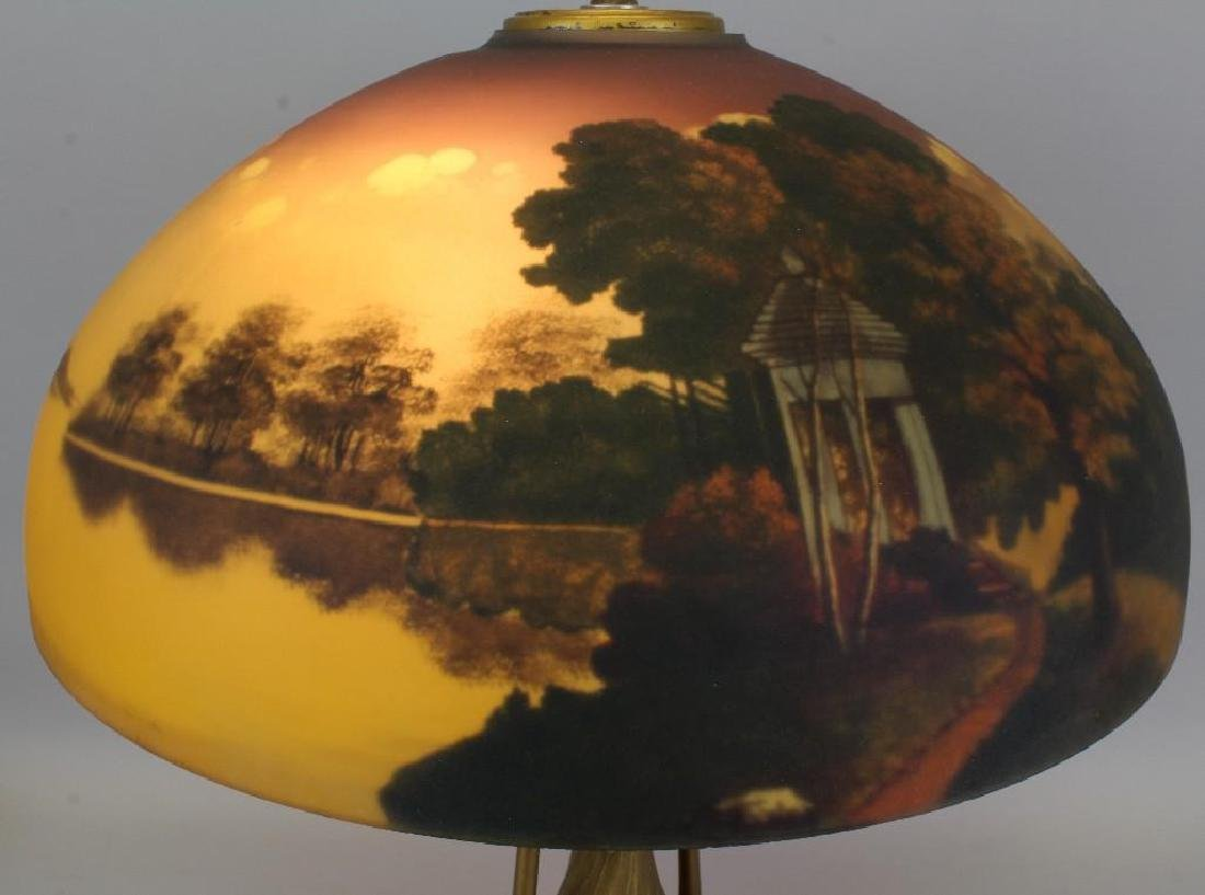 Lamp with Reverse Painted Glass Shade - 3