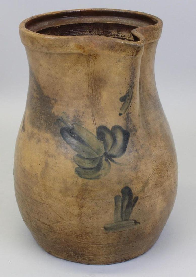 Stoneware Pitcher with Floral Decoration - 2