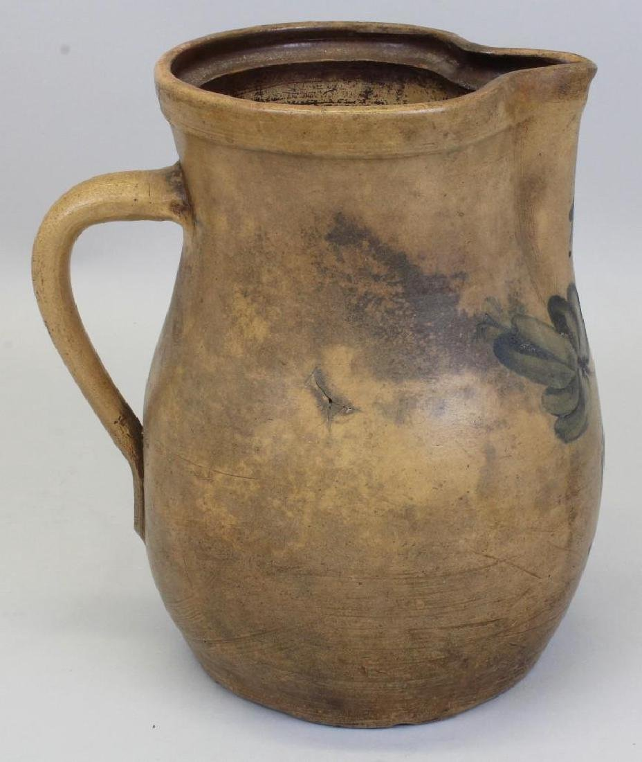 Stoneware Pitcher with Floral Decoration - 3