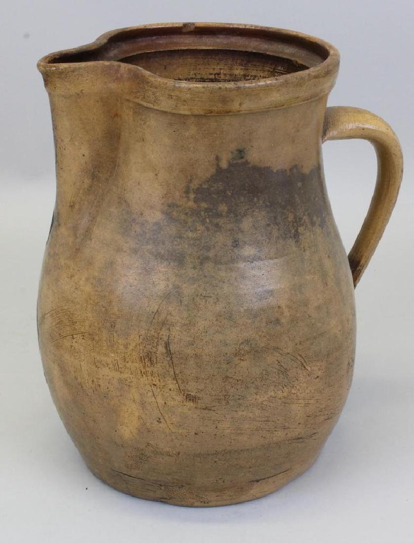 Stoneware Pitcher with Floral Decoration - 6