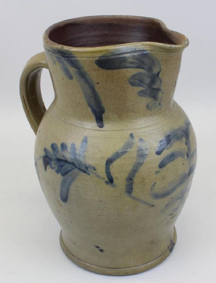 Stoneware Pitcher with Cobalt Decoration
