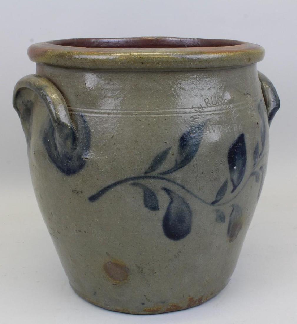 Stoneware, R. W. Russell. 3 Gallon Crock - 2