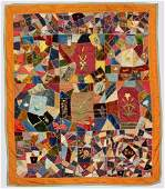 Pieced Embroidered and Appliqued Crazy Quilt with