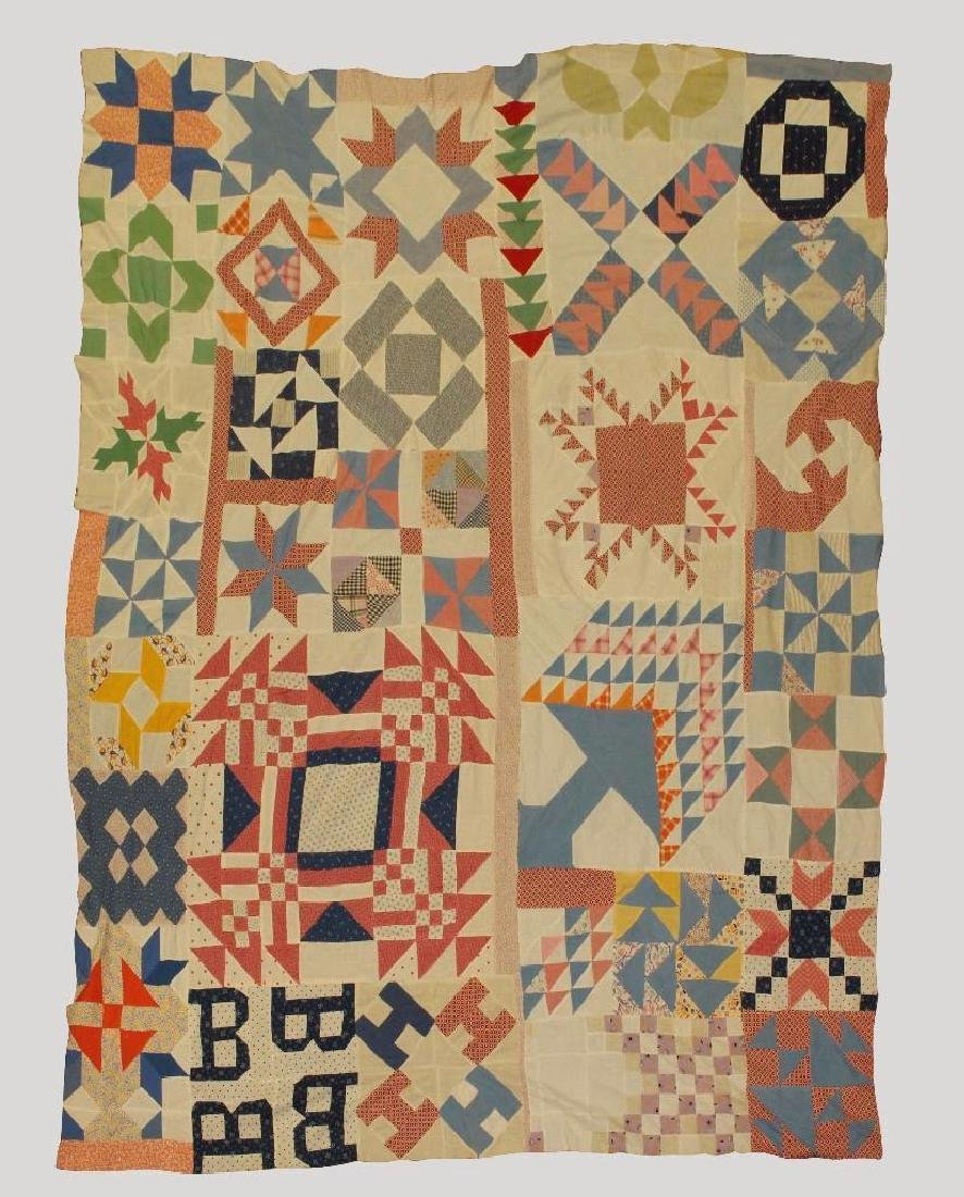 Quilt Top, Sampler Pattern, c.1930