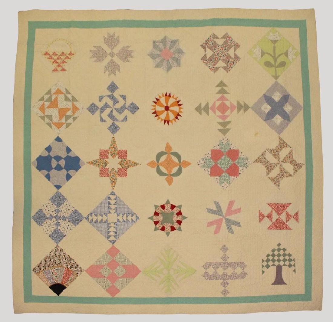 Pieced and Applique Quilt, Sampler, Illinois, c. 1940