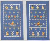Pair of Applique Child's Quilt, Dutch Theme, Ohio,
