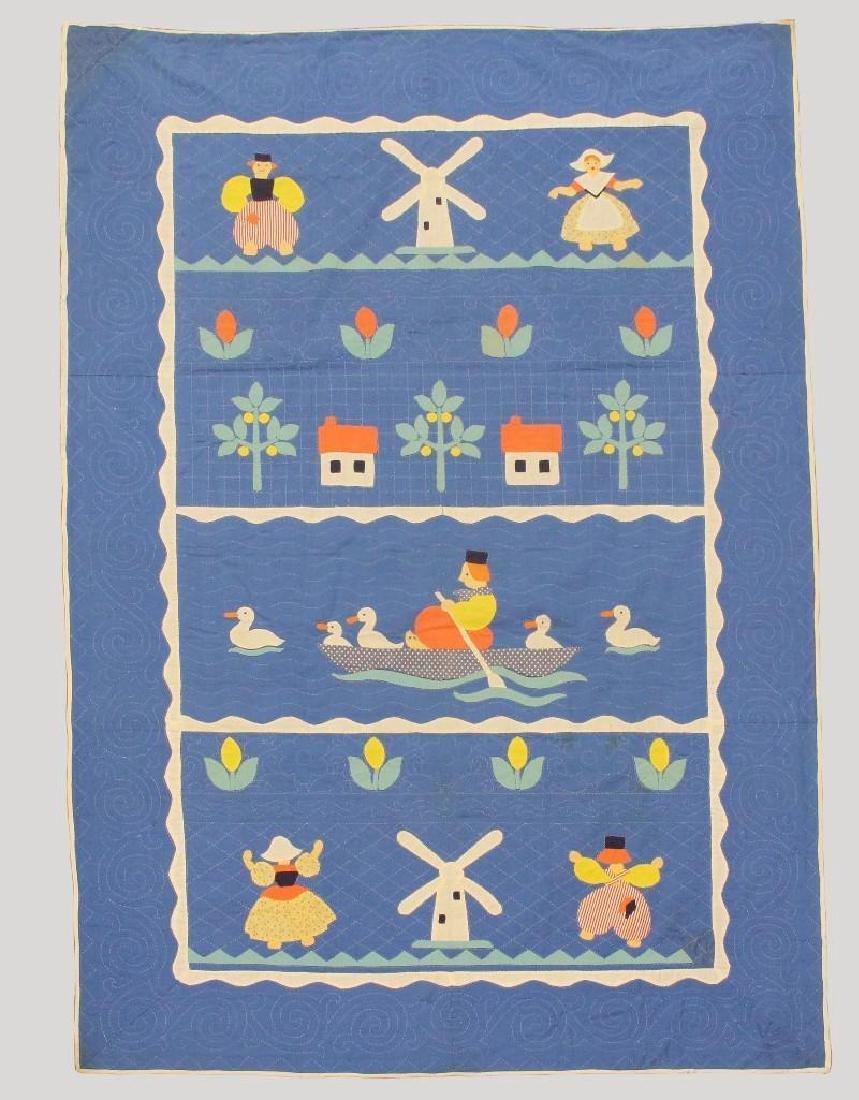 Pair of Applique Child's Quilt, Dutch Theme, Ohio, - 2
