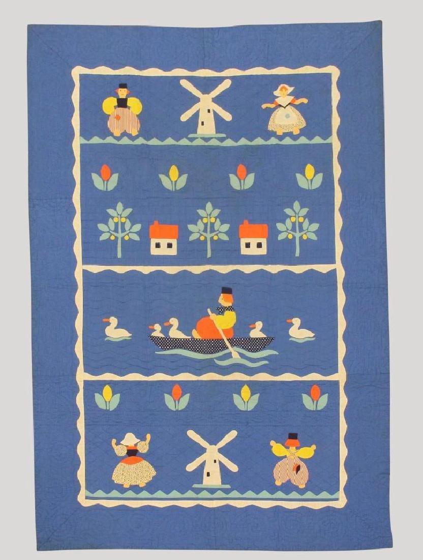 Pair of Applique Child's Quilt, Dutch Theme, Ohio, - 3