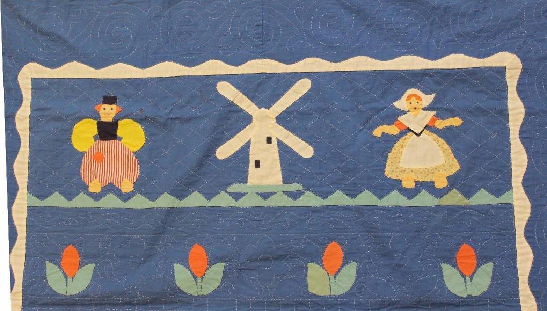 Pair of Applique Child's Quilt, Dutch Theme, Ohio, - 6