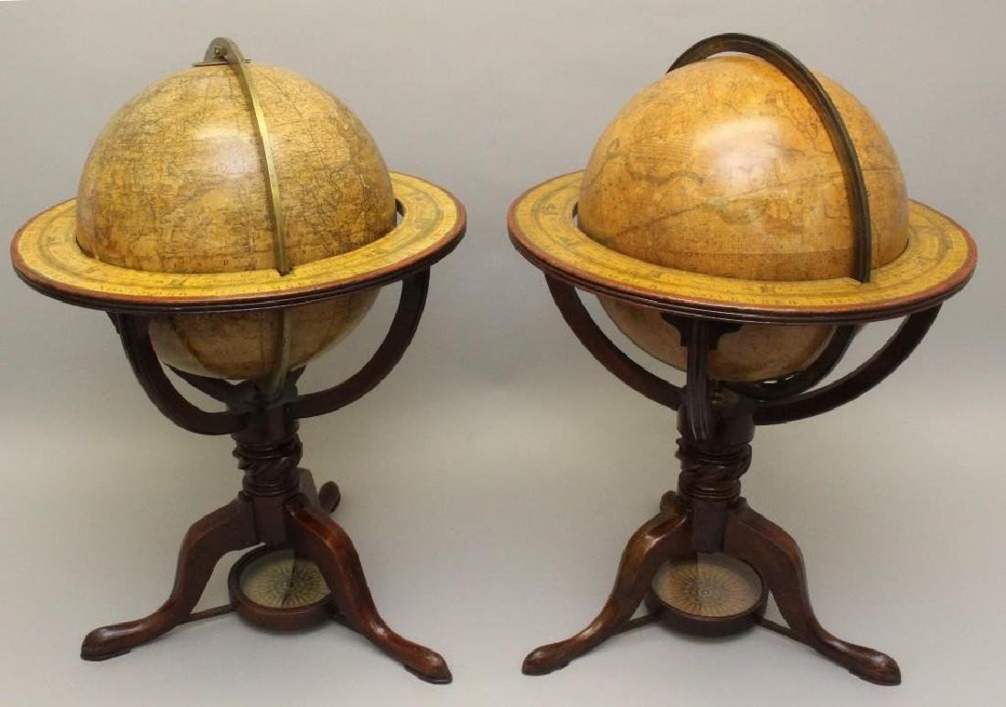 Pair of Early 19th c, Terrestrial Globes by Bardin, - 2