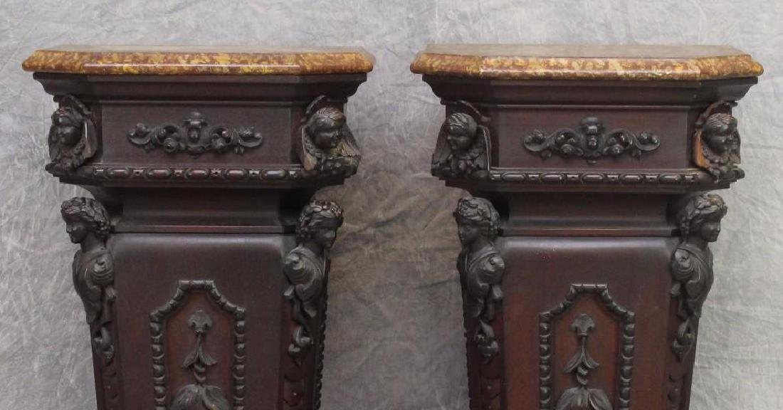 Pair of Richly Carved Mahogany Marble Pedestals - 2