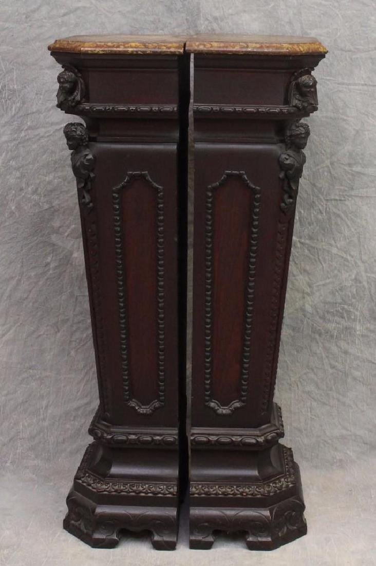 Pair of Richly Carved Mahogany Marble Pedestals - 3
