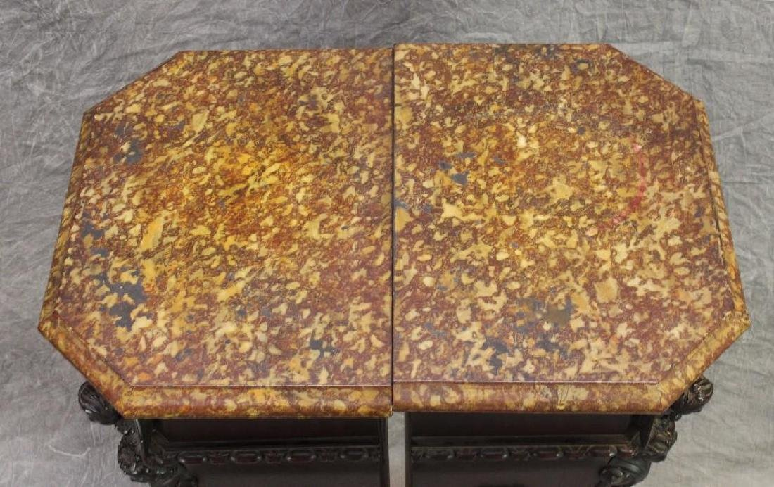 Pair of Richly Carved Mahogany Marble Pedestals - 5
