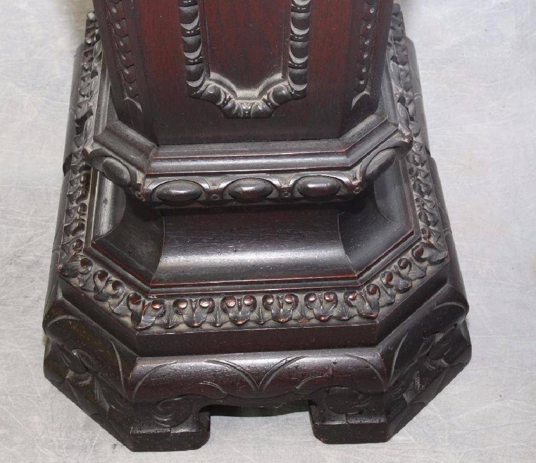 Pair of Richly Carved Mahogany Marble Pedestals - 6