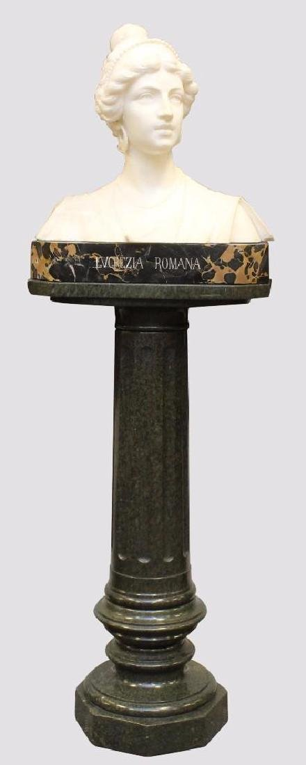 "Alabaster Bust ""Lvcrezia Romana"" and Marble Pedestal"