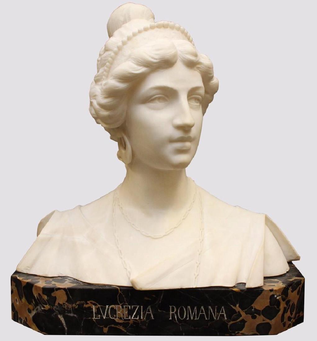 "Alabaster Bust ""Lvcrezia Romana"" and Marble Pedestal - 2"